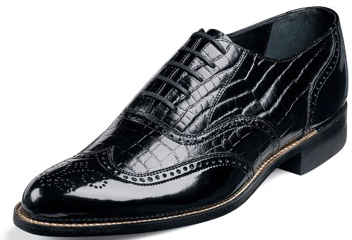 Stacy Adams Dayton Black Patent With Alligator Print Leather Oxford (10.5-D)