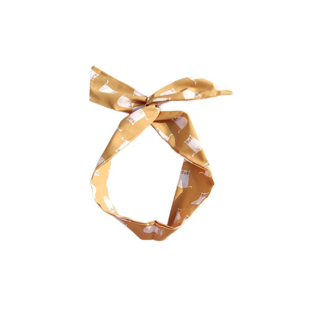 Westeng Diadema Cabello Patrón de Gato Cintas del Pelo Banda Mujer Elástico Pelo Accesorio Estilo Bohemio Size 83 * 6cm (Amarillo)