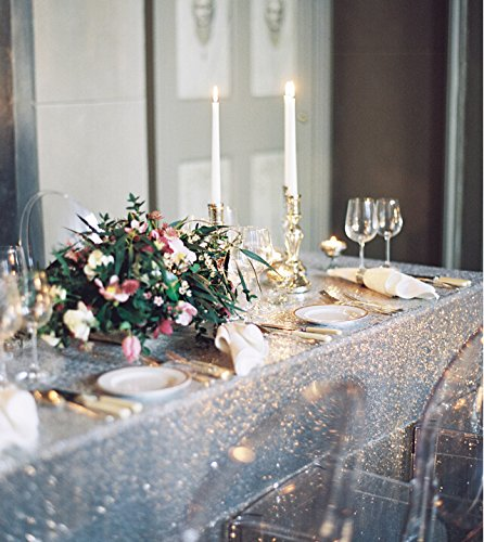 Best Wholesale 10pcs 90x132inch Rectangle Sequin Tablecloth, Silver Sequin Tablecloth Shimmer Sequin Fabric,Table Linen Wedding/Party/Evening Dress Decoration by LQIAO