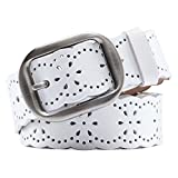 JasGood Fashion Women's Hollow Flower Design Genuine Cowhide Leather Wide Waist Belt With Alloy Buckle For Jeans