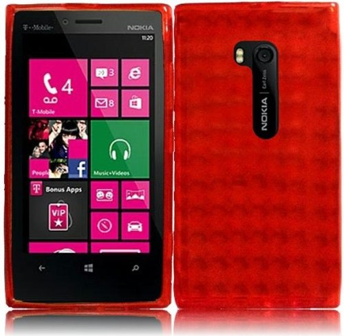 LF Red TPU Agryle Soft Case Proctor Cover, Lf Stylus Pen and Screen Wiper Bundle Accessory for T-Mobil Nokia Lumia 810