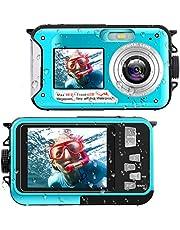 Waterproof Digital Camera Underwater Camera Full HD 2.7K 48 MP Video Recorder Selfie Dual Screens 16X Digital Zoom Flashlight Waterproof Camera for Snorkeling photo
