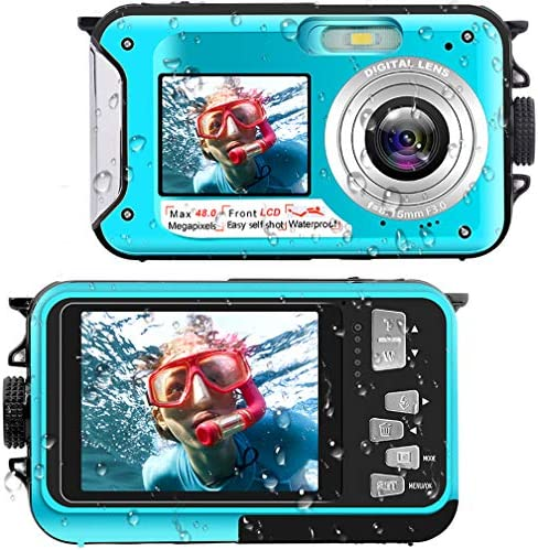 Waterproof Digital Camera Underwater Camera Full HD 2.7K 48 MP Video Recorder Selfie Dual Screens 16X Digital Zoom Flashlight Waterproof Camera for Snorkeling
