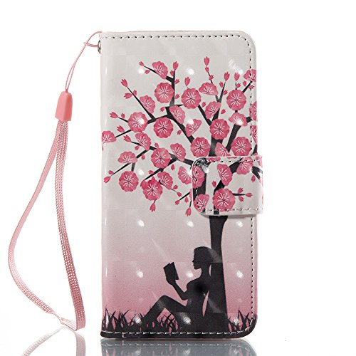 Voanice iPod 6 Wallet Case,iPod Touch 6 Case, iPod Touch 5 Case Kickstand Card Holders Flip Cover Premium PU Leather with Magnetic Hand Strap for iPod Touch 5th / 6th Generation&Stylus-Girls Pink Tree