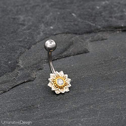 Indian Flower Mandala Belly Button Ring With Zircon Gemestone, Silver Plated Brass & Surgical Steel Tribal Boho Unique Navel Piercing, 14g, Handmade Piercing Jewelry