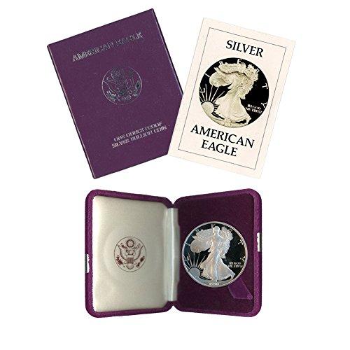 1990 S American Silver Eagle $1 Proof w/OGP & COA