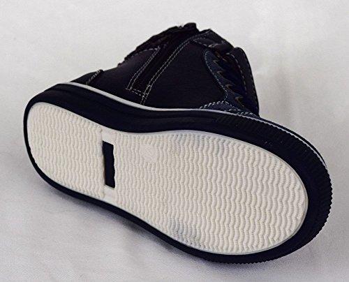 ACO Kinder Freizeitschuhe Sportschuhe, Knöchelstiefel mit Reißverschluss Seitlich und Vorne mit Schnürung, Grau, Blau Größe 25-30 Blau