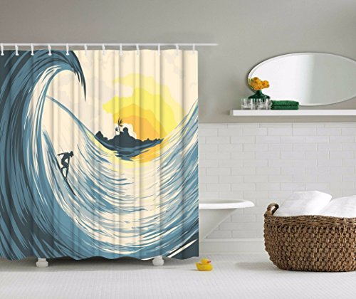 A.Monamour Tropical Island Sunset Big Ocean Waves Surfers On Surfboard Anime Print Waterproof Mildew Resistant Polyester Fabric Bath Curtains For Kids And Teens Bathroom Decors 180x200 cm / 72