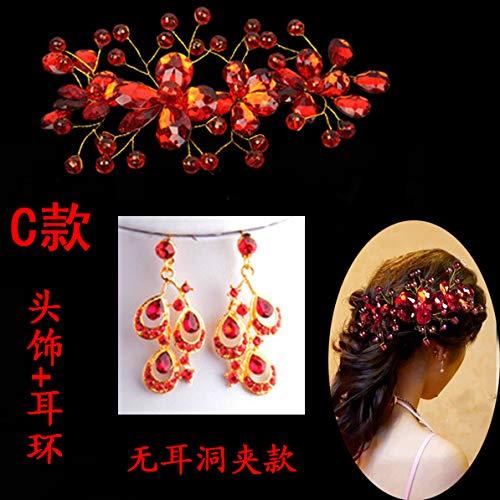 OLIJU Poinsettia Color Crystal Flower Handmade Beaded Jewelry Head Hair Styling Clip Accessories Chinese Bride Wedding (Headwear + c Money Clip Earrings Non Pierced Ears ()