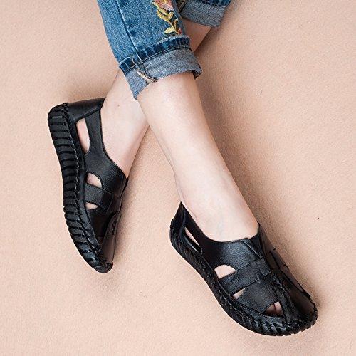 Aa-nvliangxie Frauen Sandalen Sommer atmungsaktiv Baotou Handgemachte Rutschfeste antiken Schuhe Höhle Schuhe antiken Eu 42 Cn 43 Schwarz - d99711