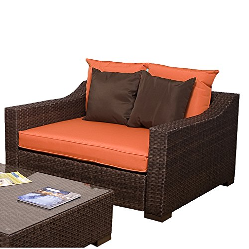 - Thomas Wicker Deep Seating Patio Arm Chair, Orange