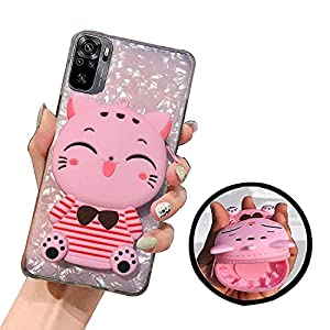 KC Lucky Cat Stripes Purse Soft Silicone Back Cover for Mi Redmi Note 10 & Mi Redmi Note 10S (Pink)