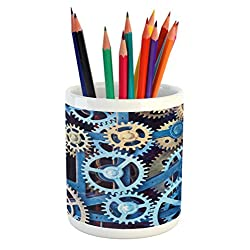 Ambesonne Clock Pencil Pen Holder, Technology Clock Gears Steel Cogwheels Pattern Mechanical Theme Design Print, Printed Ceramic Pencil Pen Holder for Desk Office Accessory, Blue and Sand Brown