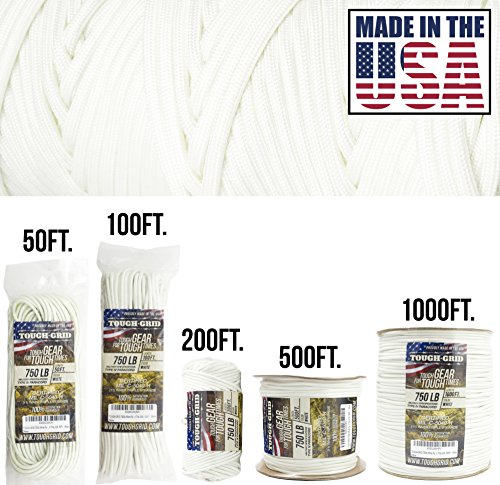 - TOUGH-GRID 750lb White Paracord/Parachute Cord - Genuine Mil Spec Type IV 750lb Paracord Used by the US Military (MIl-C-5040-H) - 100% Nylon - Made In The USA. 50Ft. - White