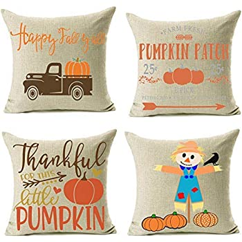 Artmag 24x24 Fall Decor Pillow Covers, Farmhouse Autumn Pumpkin Throw Pillow Shams Decorative Thanksgiving Harvest Cover Cases Set of 4 for Couch