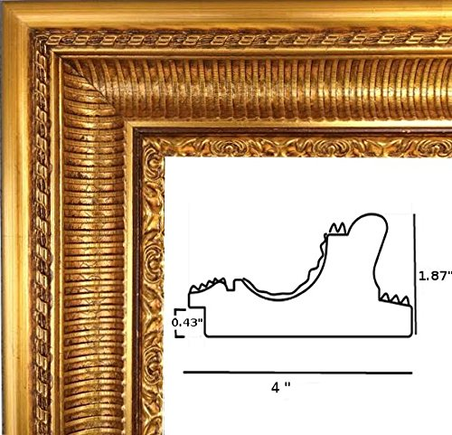 Gold foil canvas/mirror/poster frame,22x28 solid wood, 4 '' wide without plexiglass by Artandpictureframes