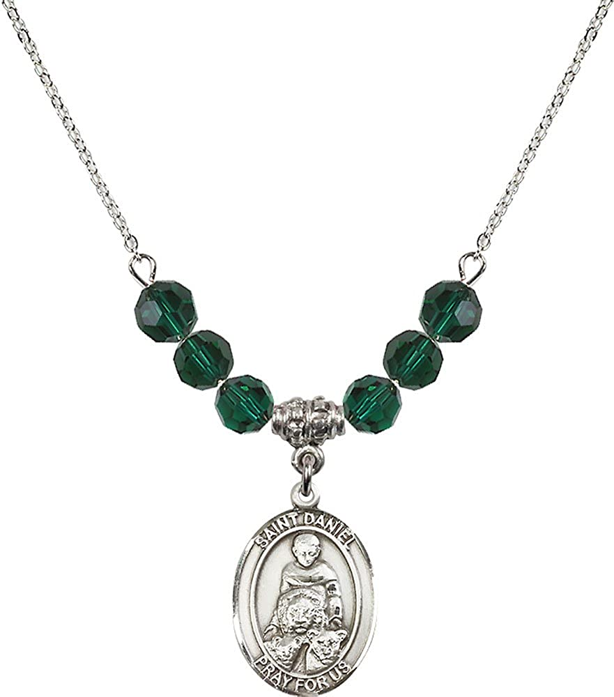 18-Inch Rhodium Plated Necklace with 6mm Emerald Birthstone Beads and Sterling Silver Saint Daniel Charm.