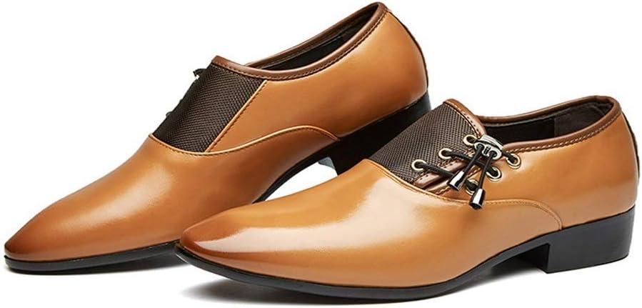 LANSHAY Original Jeunesse Chaussures Oxford pour Hommes Chaussures habill/ées /à Lacets /à Bout Pointu pour Le Travail en int/érieur Art Mariage Couleur : Jaune, Taille : 37EU