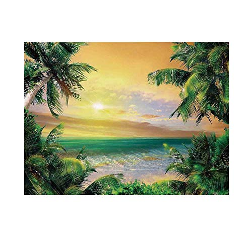 Mystic House Decor Photography Background,Baldwin Beach Coastline Sunbeams Through Heavy Clouds Wavy Ocean View Backdrop for Studio,7x5ft