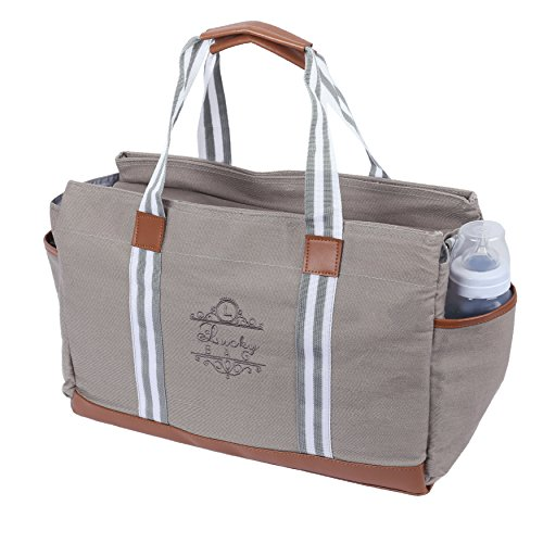 Lucky Bag Baby Diaper Bag Grey Canvas Designer Large Tote Crossbody Convertible Organizer