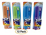 12 Pack Toothbrush with Protective Travel Case by Tek | Soft Tooth Brush Gum Massager and Tongue Cleaner