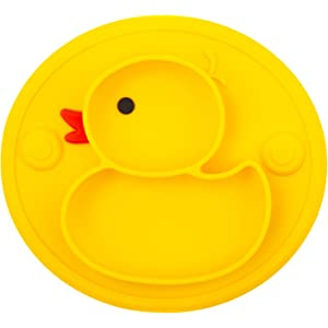 Qshareお食事用ミニマット 赤ちゃんランチョンマット離乳食 食器 ピッタリ吸着 ひっくり返らない 幼児 子供 適用 BPAフリー 滑り止め シリコン製ベビー食器(ミニアヒル) イエロー-アヒル 1ミニ -アヒル