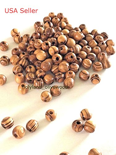 1000 ~ Olive Wood Round Beads ( 7mm ) Polished Rosary Jewelry Holy land Bethlehem Jerusalem
