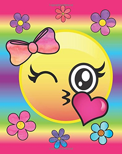 Rainbow Emoji Flower Girl Journal: Cute Pink Bow Kissy Face Emoji Diary Journal with 160 Lined Pages, 8x10 inch Blank Notebook with Rainbow Design Softcover for Girls, Boys, Kids & Adults