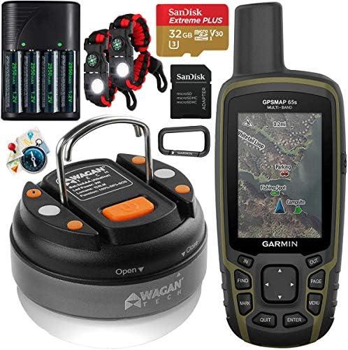 Garmin GPSMAP 65s Handheld Hiking Outdoor GPS Navigator with ABC Sensors U.S. & Canada Maps GNSS Satellite Multi-Band Rugged Bundle w/Deco Gear Emergency Bracelets + LED Lantern + Rechargeable AA Kit