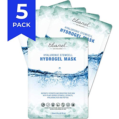 - Ebanel Korean Hydrogel Facial Face Mask Sheet,5 Pack,Dark Spot Brightening Hyaluronic Acid Facial Masks, Instant Hydrating Moisturizing Anti-Aging Anti-Wrinkle with Stem Cell Extracts, Peptide Essence