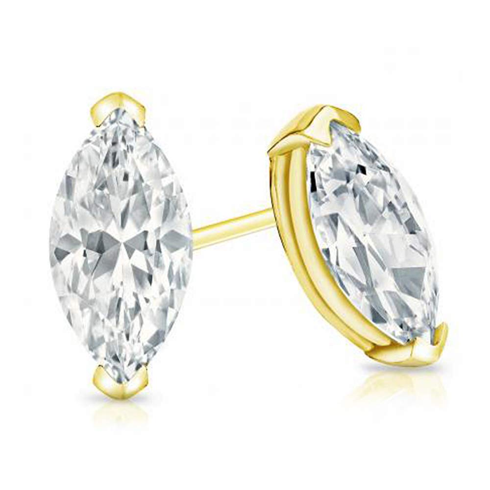 1.50 Ct Marquise Cut Simulated Diamond Solitaire Stud Earrings 14k Yellow Gold Plated .925 Silver