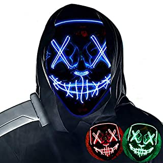 Halloween Mask LED Light up Masks Scary mask for Festival Cosplay Halloween Costume Masquerade Parties,Carnival,Blue