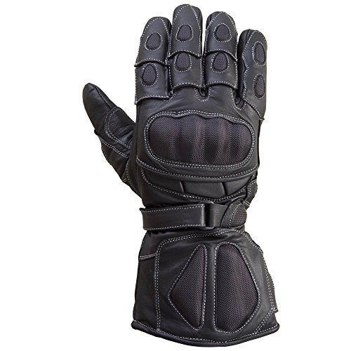 Motorcycle Carbon Fiber Knuckle Original Drum Dyed Cowhide Gloves Black -