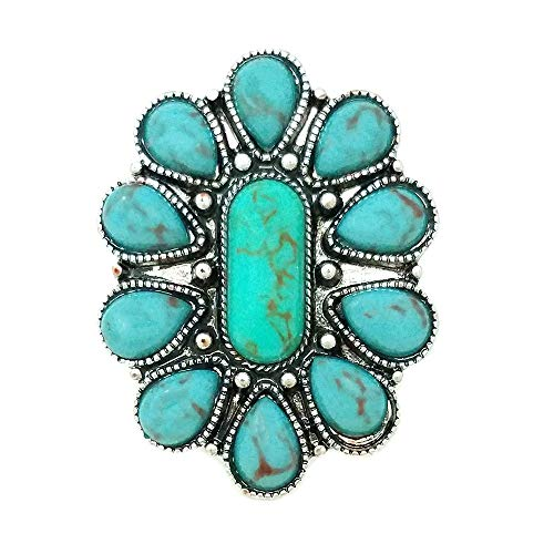 Emulily Western Turquoise Flower Adjustable Cuff Ring - Western Ring Wedding