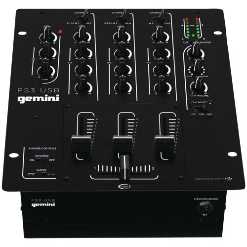 gemini dj PS3-USB 3 Channel 10-Inch Mixer with USB-Play and Record - Gemini 3 Channel Dj Mixer