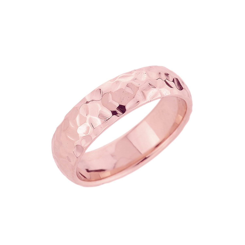 Amazon.com: Women\'s 10k Rose Gold Modern Comfort-Fit Hammered ...