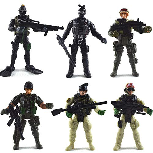 BeesClover 6Pcs/Set Military Soldier Modeling Toy with Movable Joints Tools (6 pcs)