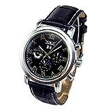 GuTe Moon Phase Roman Pro Automatic Mechanical Wrist Watch Luminous Hands Silver Black