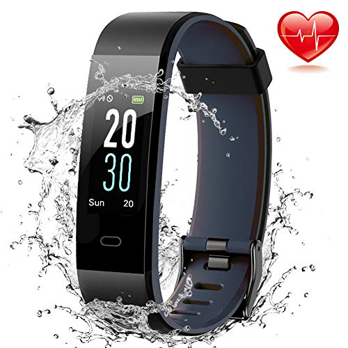 (Lintelek Fitness Tracker, Color Screen Activity Tracker IP68 Waterproof Fitness Watch Heart Rate Monitor, Sleep Monitor, Step Counter, 14 Sports Modes Men Women Kids)