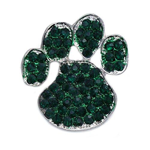 cocojewelry Doggy Dog Pet Paw Print Brooch Pin Necklace Pendant Jewelry (Dark Green)