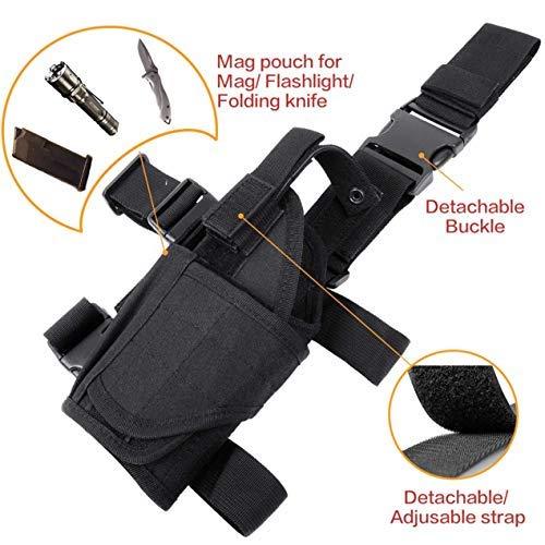 DecoDeco Etui à Pistolet Holster De Cuisse Jambe Droite pour Armée Tactique Réglable Airsoft Molle Glock 1911 3