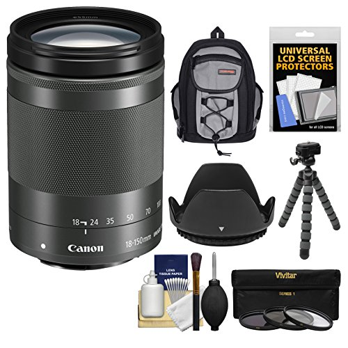 Canon EF-M 18-150mm f/3.5-6.3 is STM Zoom Lens (Graphite) with Case + Flex Tripod + 3 UV/CPL/ND8 Filters + Hood + Kit