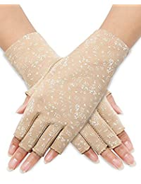 Women Sunblock Fingerless Gloves Non Skid Summer Gloves UV Protection Gloves(Khaki)