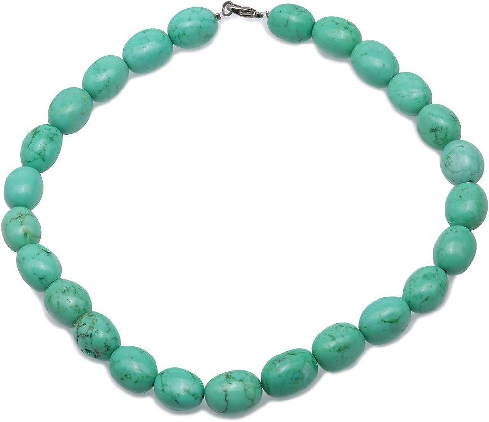 JYX - Collar de Piedras Preciosas Turquesa de 13 x 17 mm, Ovalado, Verde, Turquesa, Hecho a Mano, Collar Turquesa para Mujer de 17 Pulgadas
