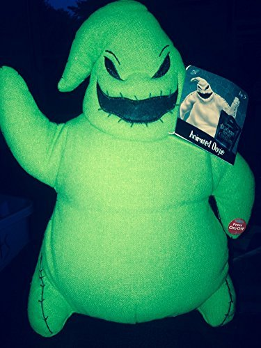 Tim Burton Disney's Musical Animated Oogie Boogie Plush Nightmare Before Christmas Halloween Figure featuring Instrumental, 12 Inches - Green]()