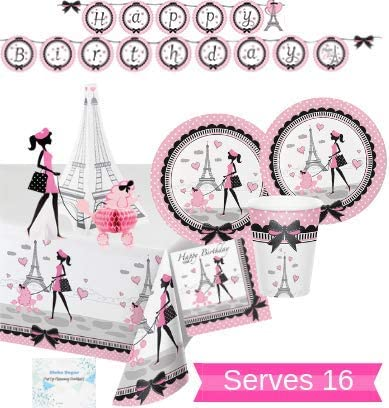 Party in Paris 7 Inch Plates 8 Pack Girls Birthday Party Decoration