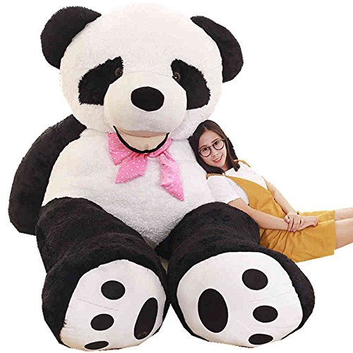 Super Soft Black White Big Bear Anniversary Gifts For Him Hug Body Pillow Panda Bear Plush Toys 51 inches by trendsmall
