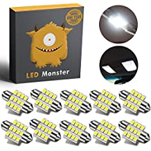 LED Monster 10-Pack White 31mm Canbus Error Free Festoon LED Light Bulbs 12-SMD for Interior Lights Map Dome Door Courtesy Light Bulbs DE3021 3175