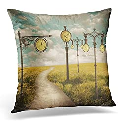 Sdamas Decorative Pillow Cover Colorful Time Beautiful Surreal Landscape with Different Clocks Green Artistic Throw Pillow Case Square Home Decor Pillowcase 16x16 Inches
