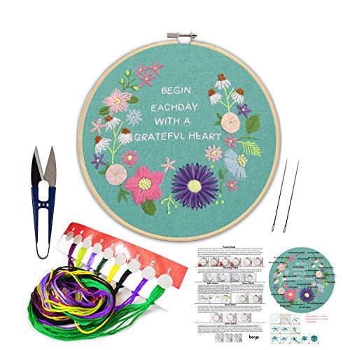 Handmade Embroidery Starter Kit Set with Pattern Including Embroidery Cloth,Bamboo Embroidery Hoop, Color Threads, and Other Tools Kit for Beginners